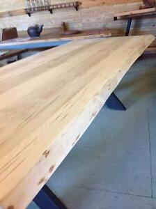 Live Edge Wormy Maple Table with Steel X Legs