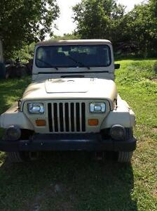 1992 jeep yj Sahara edition automatic onley 76,500 km  project