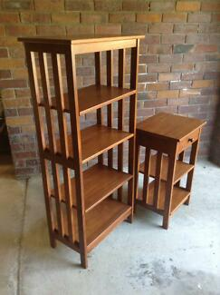 Wooden Side Table With Matching Shelving Unit