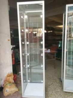 NEW glass display cabinets. LED lights. 5 shelf. 500x500 x2 metre