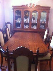 Dark Oak Dining Room Set (China Cabinet, Dining Table, 6 Chairs)
