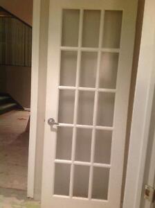 Porte francaise vitres givrees