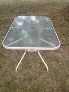 "PATIO TOP GLASS TABLE 60"" X 34"" - umbrellas, chairs  & cushions Oakville / Halton Region Toronto (GTA) image 2"