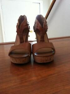 cute dark tan color wedge sandals by Bucco