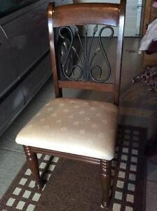 Beautiful wood chair with metal design, including the cover