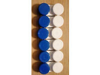 6 New Matching Blue & White Contact Lens Soaking Storage Cases.