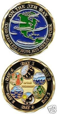 THE 7 DAYS OF CREATION GOD CREATED CHALLENGE COIN