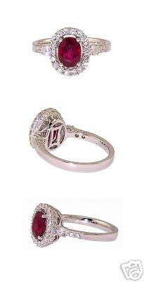 New 18kt White Gold Ruby Diamond Fashion Ladies Ring