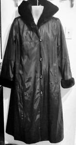 "NEW Oakville GTA 50"" LONG Black Raincoat Jacket Warm FAUX FUR LINING Hood UTEX Brand Large Swing Jacket Wide Hips Trench"
