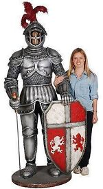 medieval 6ft fiberglass resin 3 d knight statue with sword and shield