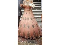 Indian Peach/Coral WEDDING DRESS, ARINDER BHULLAR, size 8-10, ELEGANT, UNIQUE