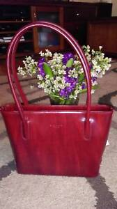 Authentic Simone Firenze Red Leather Handmade In Florence Italy