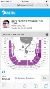 Katy Perry Tickets - Perth Broadwater Busselton Area Preview