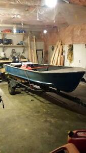 14 Ft boat, 25hp outboard, and trailer