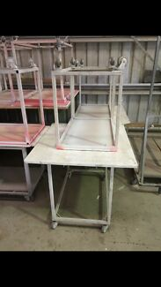 Work benches trolleys and drying rack for wood shop paint shop