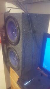 "Two 12"" Pioneer subwoofers in box Stratford Kitchener Area image 1"