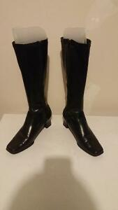 Genuine leather calf high boots-like new