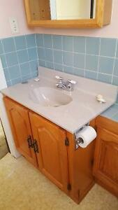 Bathroom sink and cupboards