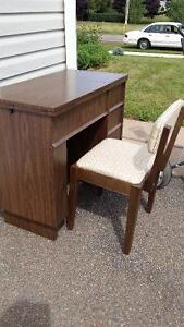 Sewing machine cabinet and chair
