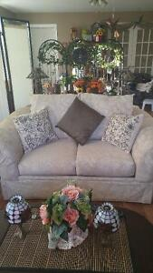 Small cream couch and chair solid construction