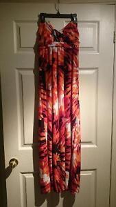 Red/ orange summer strapless dress