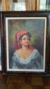 Beautiful large vintage oil canvas painting Gypsy woman portrait