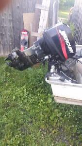 25hp mercury outboard and 4hp and 9.9hp