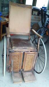 ANTIQUE LATE 1800s 3 WHEELED GENDRON WHEELCHAIR ODDITY