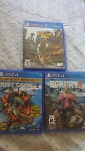 Far Cry Primal, Far Cry 4, Just Cause 3,Infamous ps4