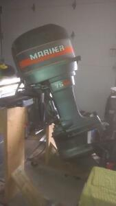 75 Hp Mariner Outboard with Quick Silver controls, key & cables