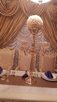 Candelabra, table cloth, chair cover, For rent