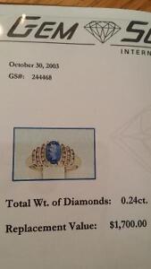 14kt yellow gold genuine tanzanite and diamond ring