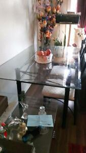 Modern Glass Top Dining Table With 4 Chairs