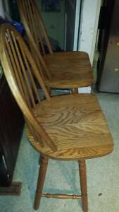 PAIR OF LARGE SOLID OAK BAR/COUNTER STOOLS $100 for the pair