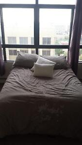 Double bed: metal frame, mattress,  box spring, bedding $150 OBO