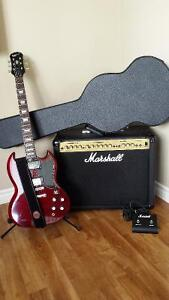 Complete Setup Rare Gibson Epiphone Marshall Amp Case & Strap