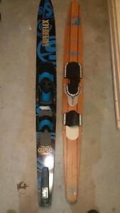 Water Ski's. One new, one vintage wooden