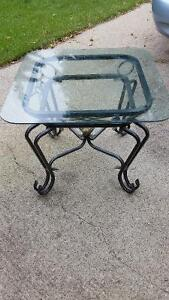 MODERN METAL AND GLASS END TABLES