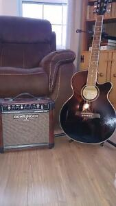 Ibanez electric acoustic guitar and amp