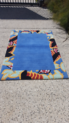 Blue tropical rug cleaned and sanitised  made of wool Tewantin Noosa Area Preview