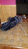 Golf bag with clubs, irons, and putter