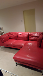 Red leather couch St James Victoria Park Area Preview