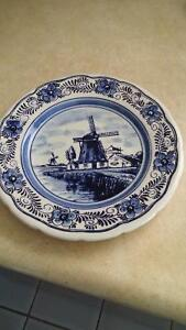 "Vintage Delfts Blauw Windmill 9"" Hanging Plate"
