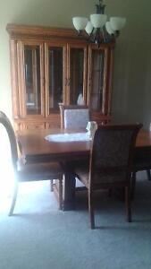 Beautiful Solid Oat Dining Room Table with Hutch Set