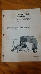 NEW  HOLLAND  847  ROUND  BALER  OPERATOR'S  MANUAL
