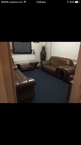 VERY CHEAP BEAUTIFUL & COMFY REAL LEATHER LOUNGE SET. Revesby Bankstown Area Preview