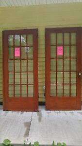 Antique Douglas Fir French Doors with beveled glass lites