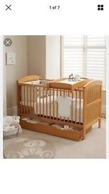 Mamas and Papas Cot Bed with changer and under cot drawer