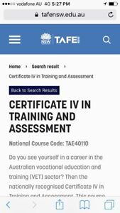 MENTOR REQUIRED FOR CERTIFICATE IV IN TRAINING AND ASSESSMENT Queenscliff Manly Area Preview