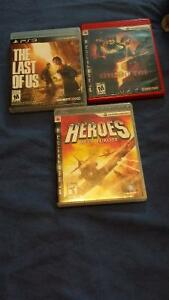 the last of us / Resident evil / heroes games PS3